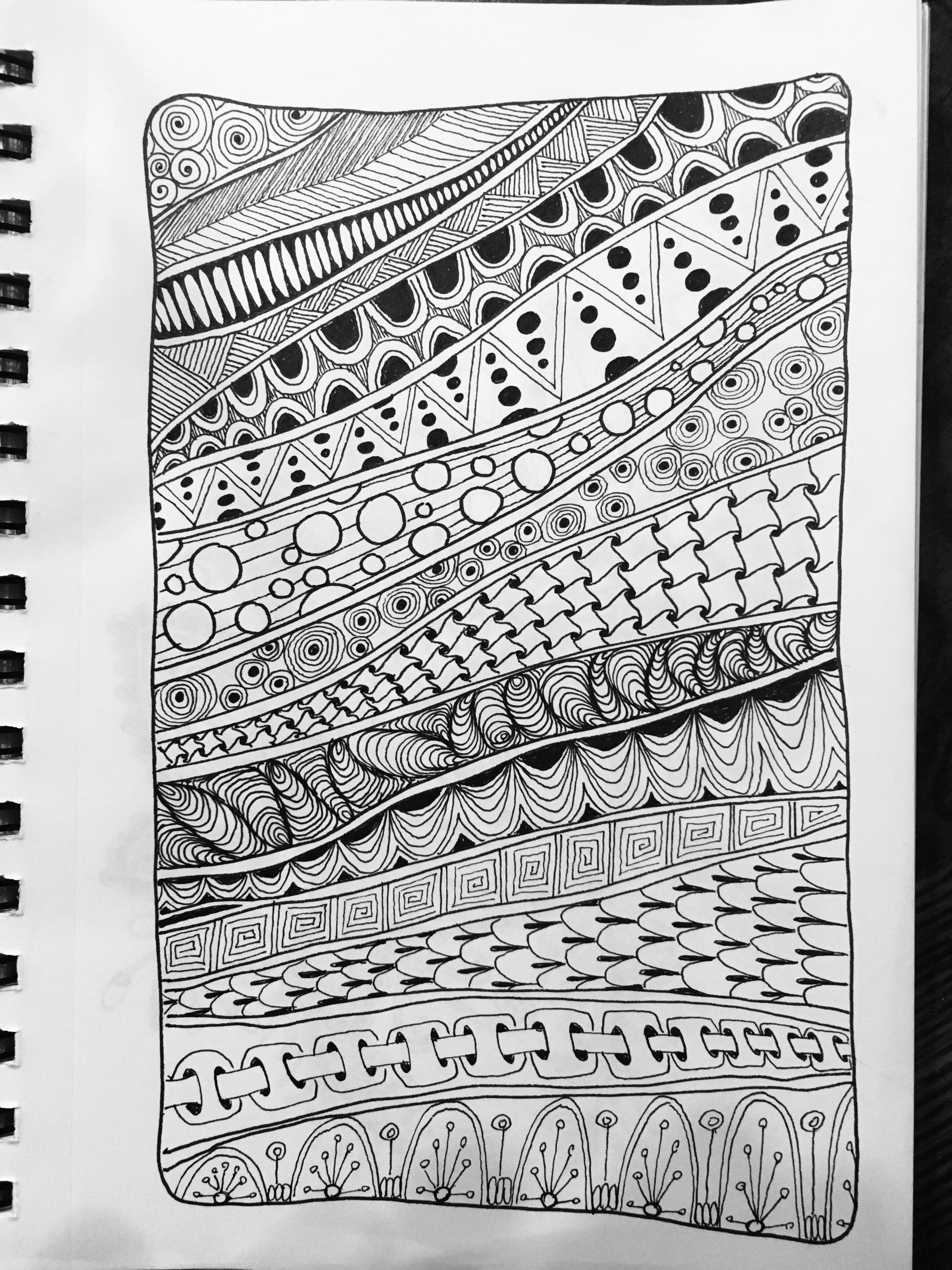 Zentangle Doodle Tangleart Rows Patterns Zentangle Doodle