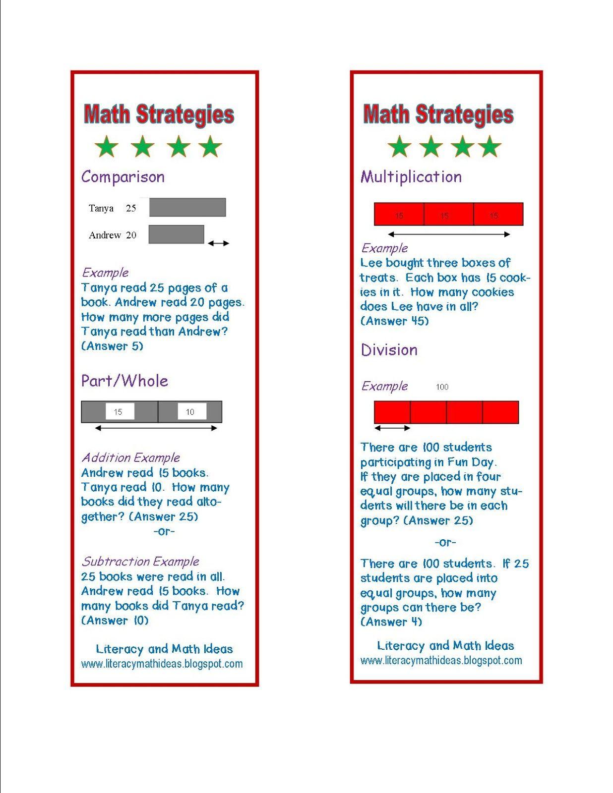 Literacy & Math Ideas: Free Math Word Problem Strategy Bookmarks ...