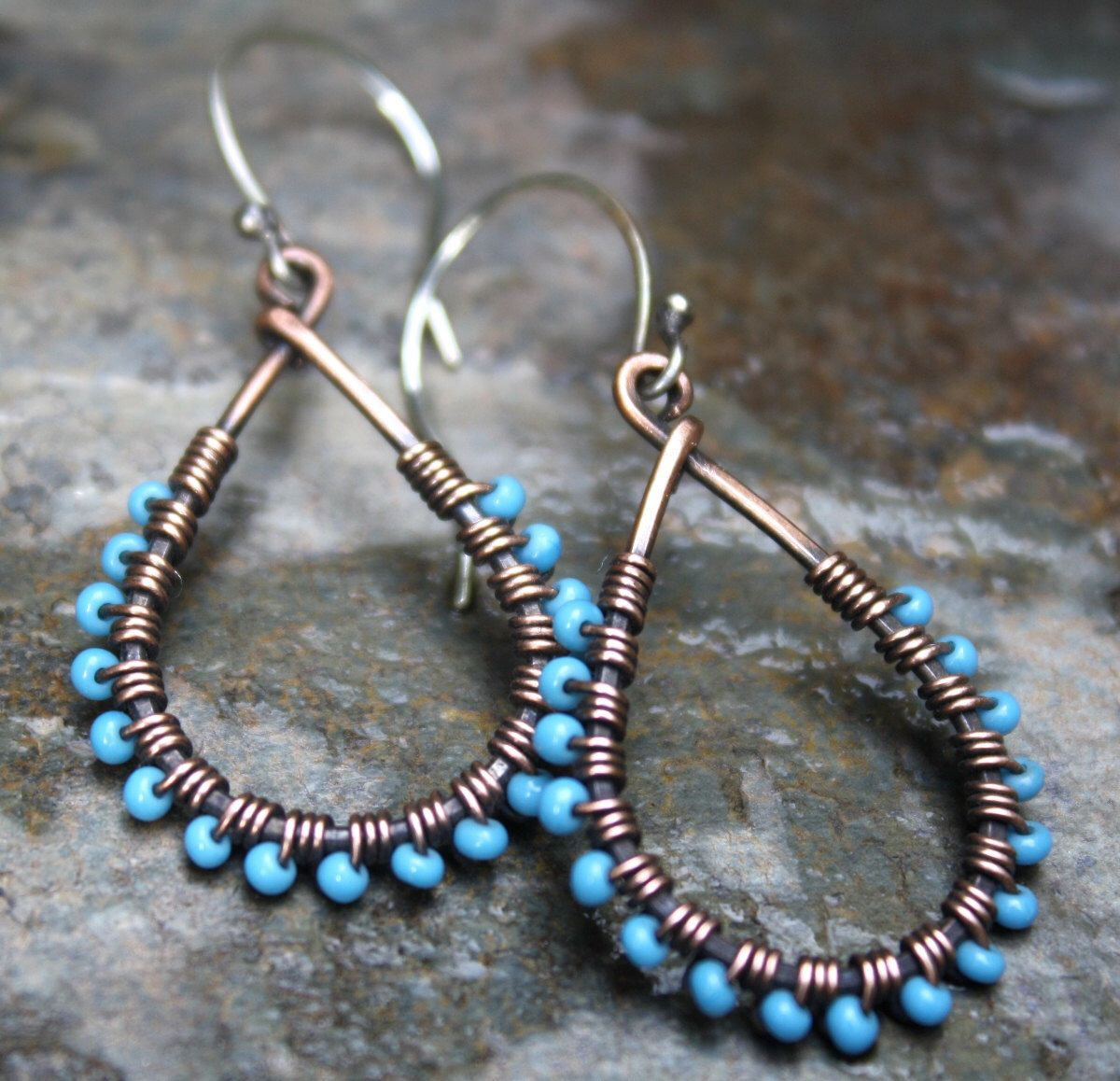 Copper Teardrop Earrings, Turquoise, Oxidized Copper, Seed Bead Earrings,  Copper Wire Jewelry