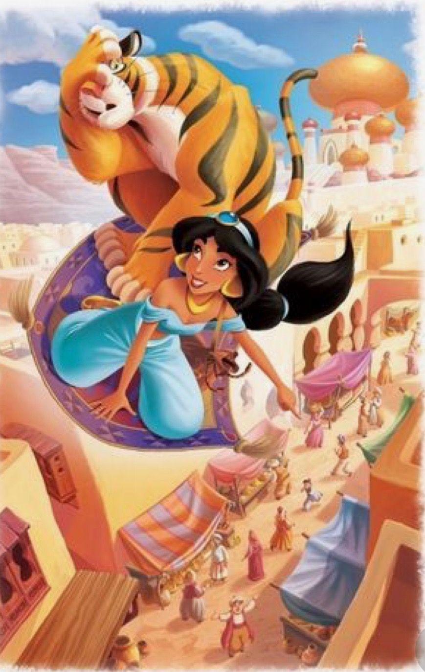 Jasmine And Rajah On A Flying Carpet Disney S Aladdin Walt Disney Princesses Disney Jasmine Disney Aladdin