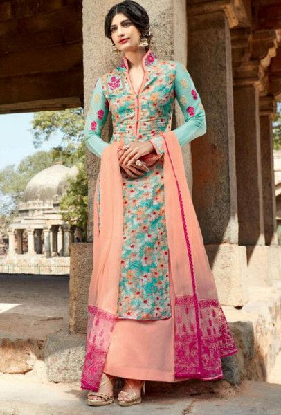 2206f2e9f0 Turquoise and peach designer embroidered suit - Desi Royale - 1 ...