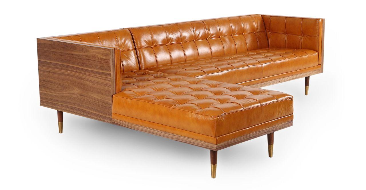 Outstanding Woodrow Box Sofa Sectional Left Walnut Tan Aniline Beatyapartments Chair Design Images Beatyapartmentscom