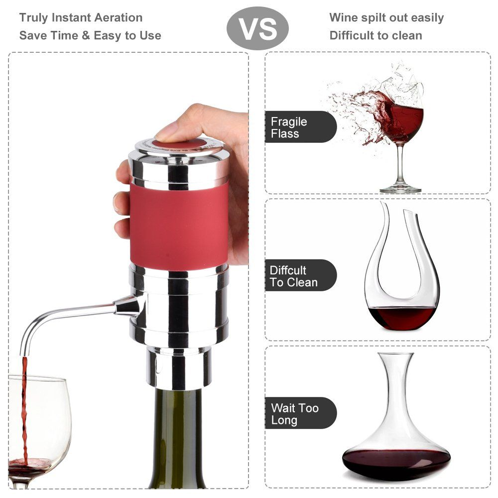 Aushen Electric Wine Aerator Dispenser Wine Aerator Pourer Set Creative Air Decanter With Waiters Corkscrew And Wine St Wine Stoppers Wine Stopper Pourer Wines