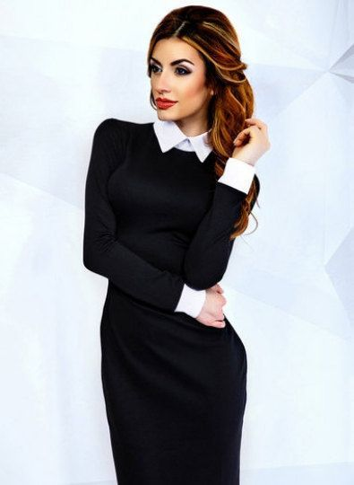 Very stylish and elegant pencil black dress with white collar ...
