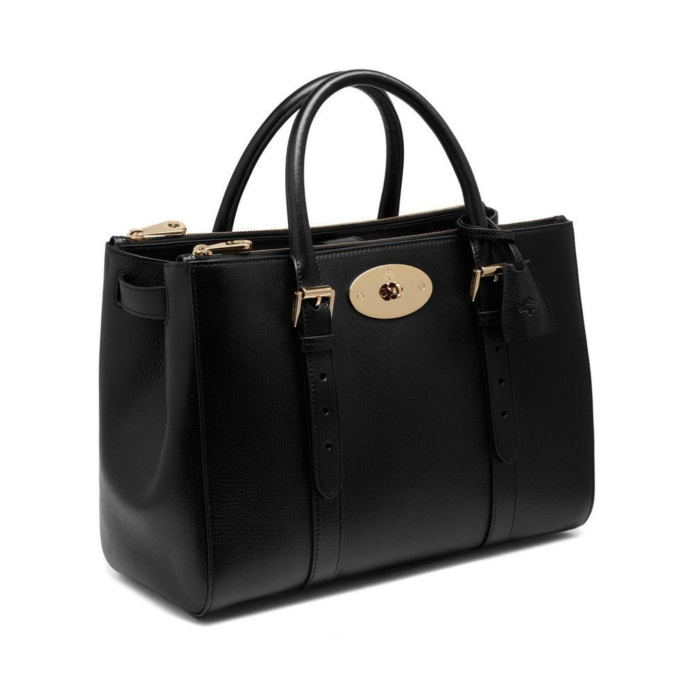 3d914c5d45 Bayswater Double Zip Tote in Black Shiny Goat