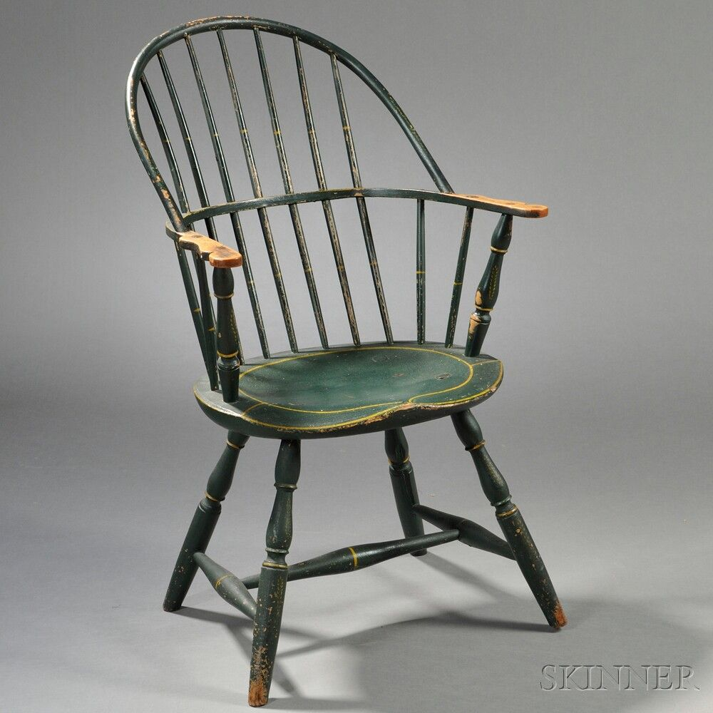 Green-painted Sack-back Windsor Chair | Sale Number 2680B, Lot Number 357 |  Skinner Auctioneers - Green-painted Sack-back Windsor Chair Sale Number 2680B, Lot