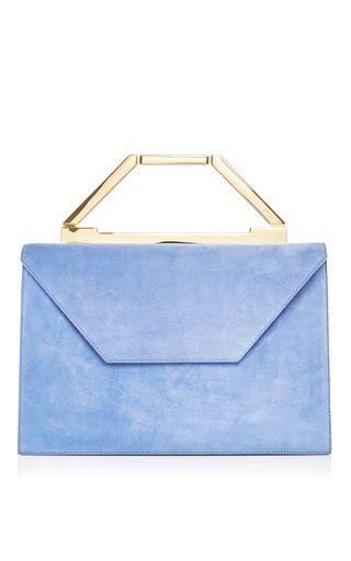 M'o Exclusive: Blue Jean Suede Emma Bag by OWEN for Preorder on Moda Operandi