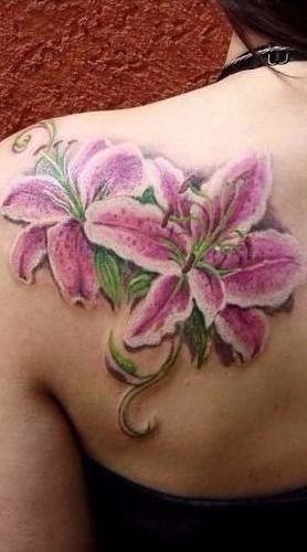 da5b68097 Stargazer Lilies Tattoo on Back | *•.¸ღ¸.•*Ƹ̵̡Ӝ̵̨̄Ʒ Tatted Up ...