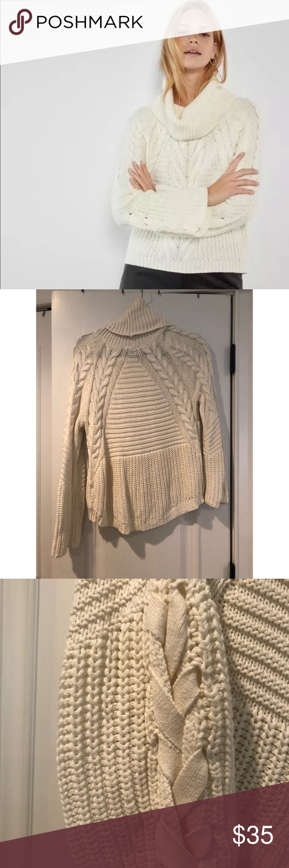 Express Cowl Neck Cable Knit Sweater Cable Knit Sweaters Sweaters Chunky Cable Knit Sweater