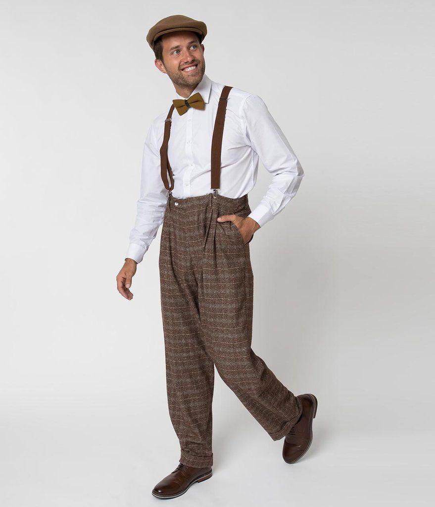 Unique Vintage 1930s Style Brown Checkered Woven Men Pants 1940s Mens Fashion Preppy Mens Fashion Vintage Mens Fashion