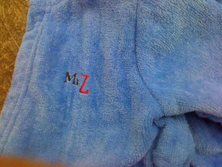 Front of baby boxing bath robe.  Sharyn