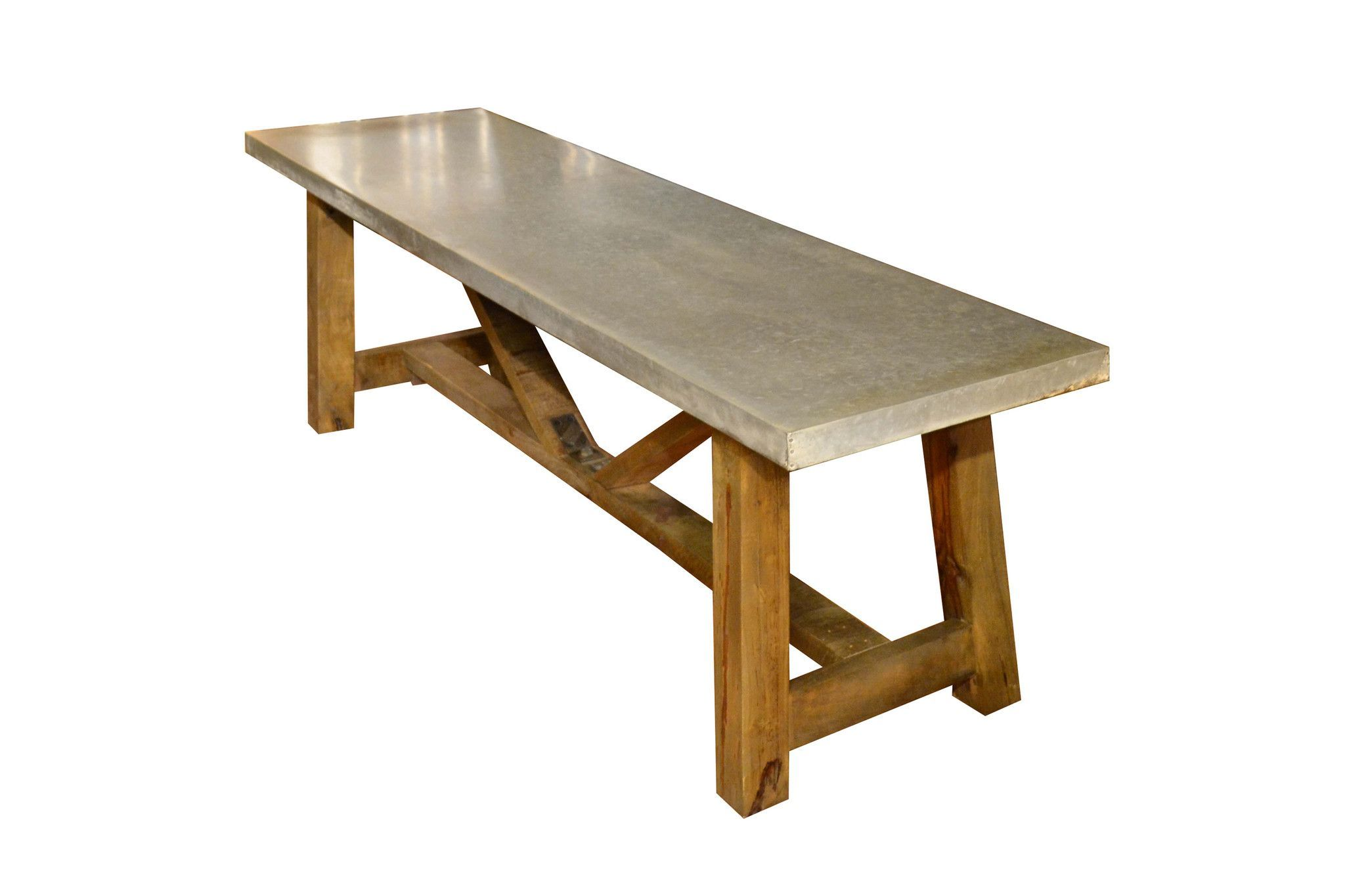 Solid Wood Base   Real Zinc Wrapped Table Top   Contemporary Design  Dimensions: X X