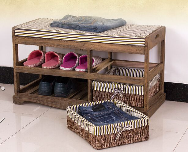 Wooden Shoe Rack With Two Storage Basket Paulownia Solid Wood Bench ...