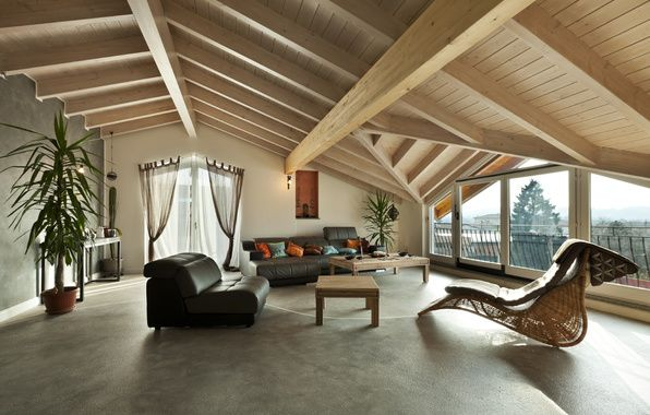 Ceiling Covering Roof Sloping Idea Apartment Set Up Wood Recliner Couch Big