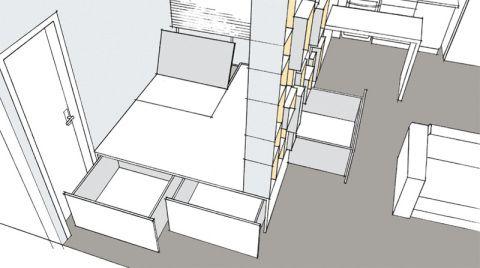 Para facilitar a abertura das gavetas na estante que divide quarto e sala,elas são dotadas de rodinhas.