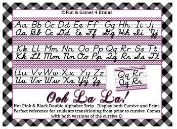 Black  Hot Pink Themed Cursive And Print Alphabet Strip  Cursive