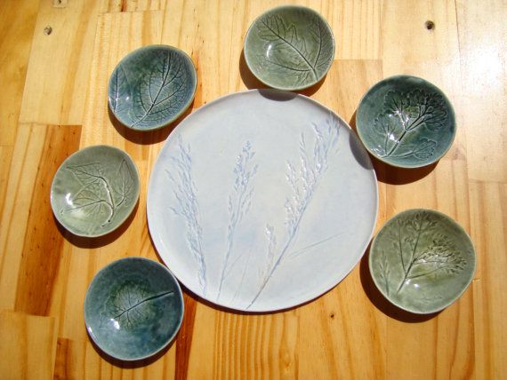 Passover Seder Set Matzah Plate And Six Small Bowls With Leaf Etsy Small Bowls Seder Passover Seder