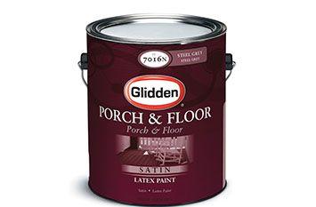 Glidden Porch Floor Interior Exterior Latex Paint Satin Recommended For Painting Vinyl Floors Available At Home Depot Flooring Porch Flooring
