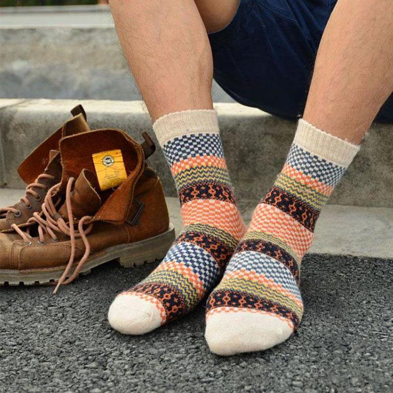 Herren Winter Gestreiften Warme Dicke Wollsocken Baumwolle meias Mischung Vintage Männer Retro Plaid Casual Dress Billige Socken calcetines