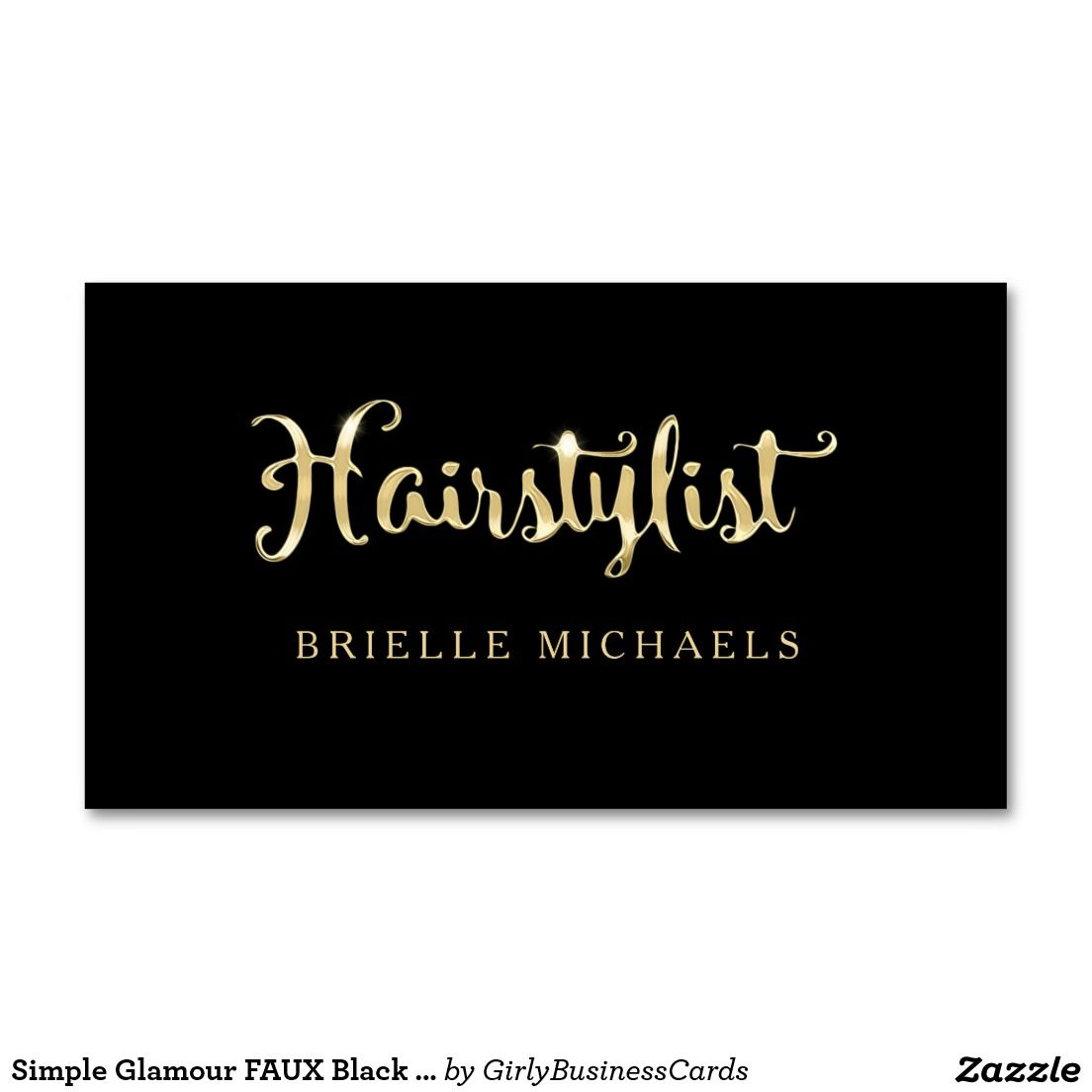 Simple Glamour FAUX Black and Gold Hairstylist Business Card ...