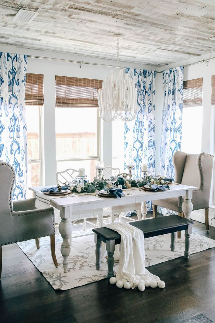 Shades of Blue Harvest Fall Table Idea #shadesofwhite