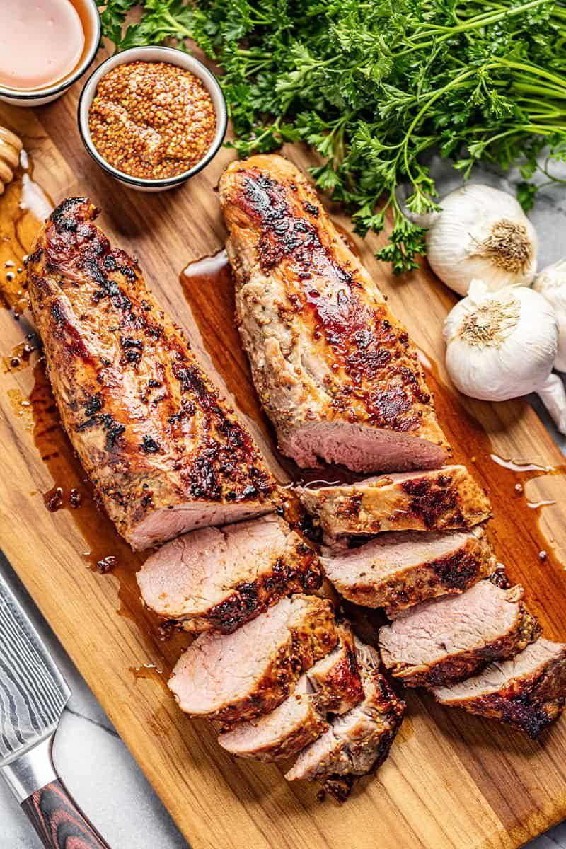 Honey Dijon Garlic Roasted Pork Tenderloin #porktenderloinrecipes
