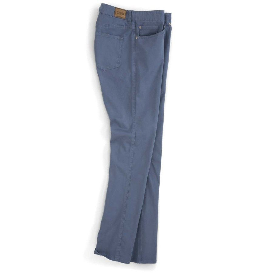 Peter Millar | Sateen Stretch 5-Pocket Pant in Admiral Blue