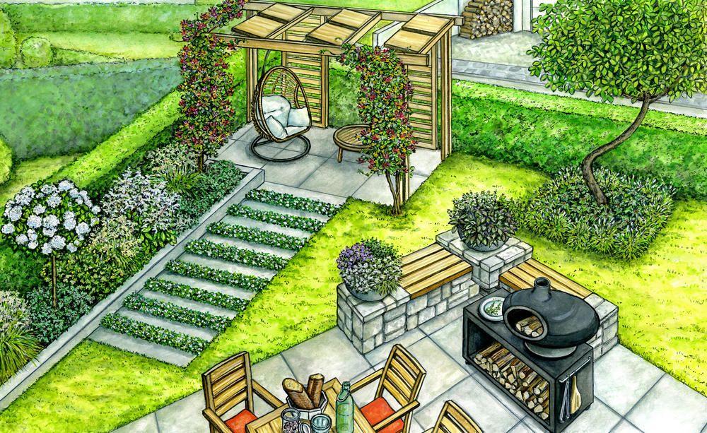 An Der Terrasse Entsteht Eine Eckbank Aus Stein Die Auch Als Grillplatz Dient Praktisch Ist Der Rollbare Grill Mit Ab Garten Terrasse Garten Garten Gestalten