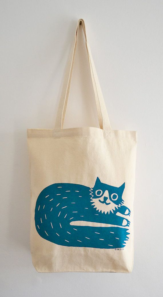 8d3fed5ea Cat Tote Bag, Hand Screen Printed Percy Cat Design in Teal | Party ...