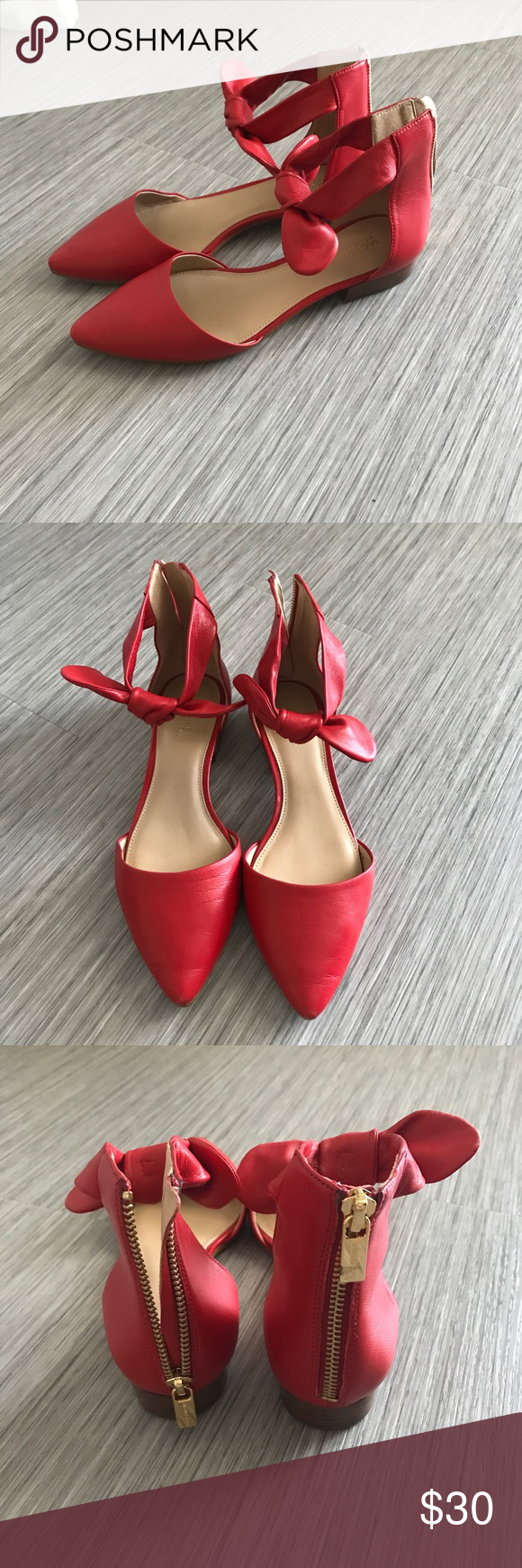 e4c5a30db9a2 Michael Kors Alina Leather Ankle Bow Flats Red leather Michael kors flats  with bow detail. Worn once Michael Kors Shoes Flats   Loafers