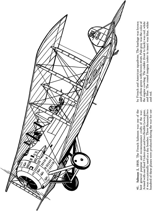 Airplanes of World War I Coloring Book Dover Publications | Coloring ...