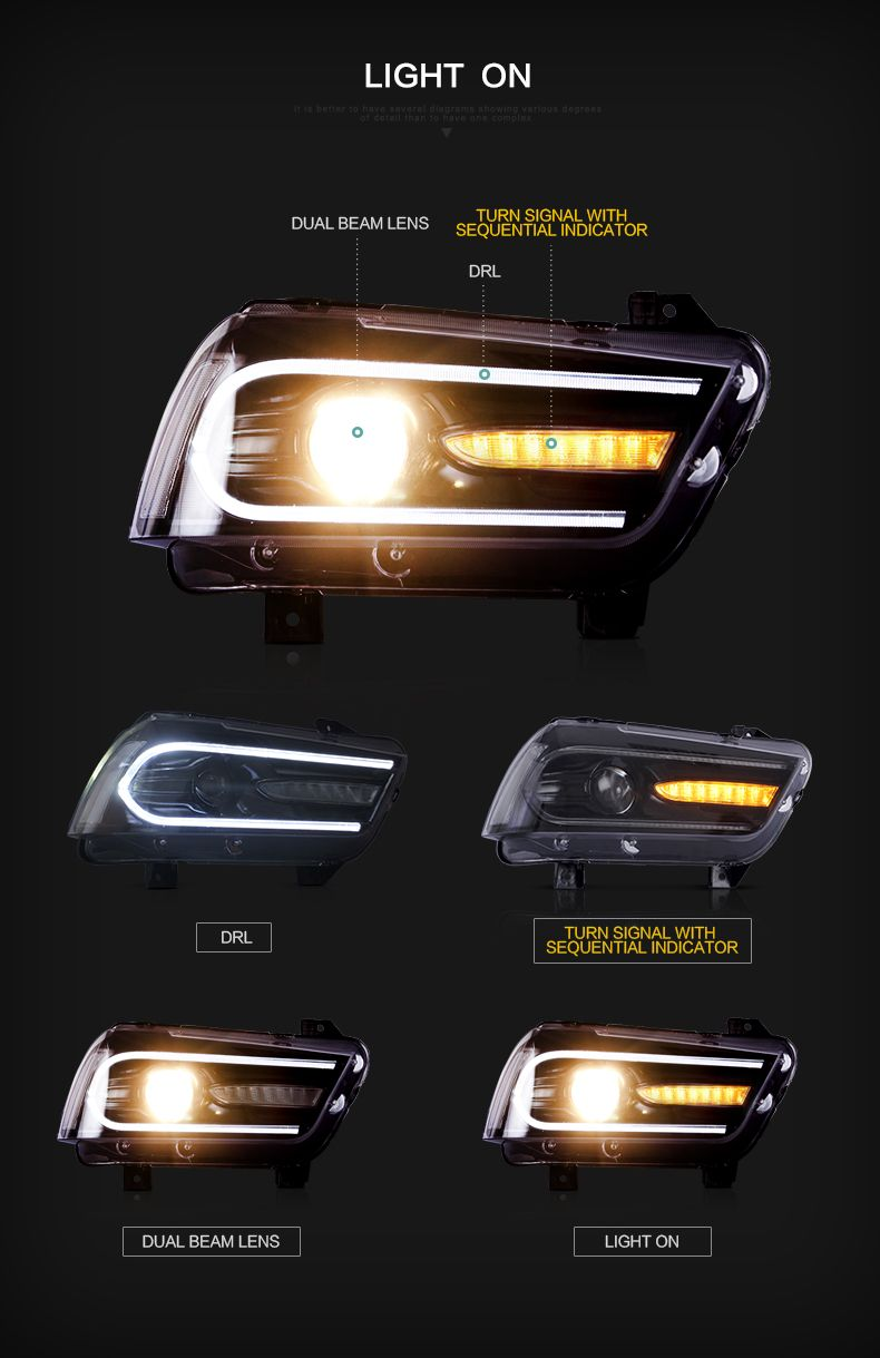 Dodge Charger 2011 2014 Led Head Lampupgraded Led Headlights