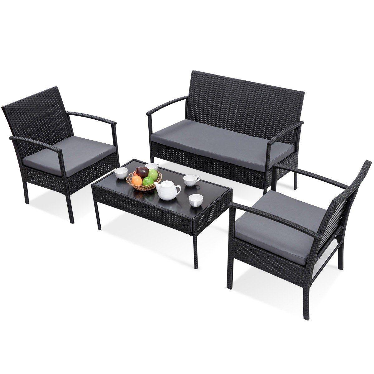 Modern 4 Piece Outdoor Rattan Patio Furniture Set In Black Patio