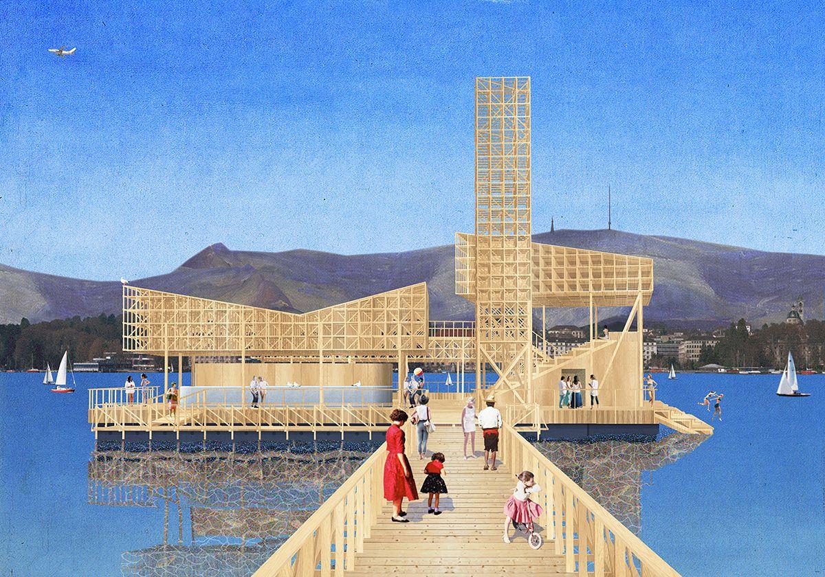 Studio Tom Emerson - students at ETH zurich design floating wooden pavilion for manifesta 11