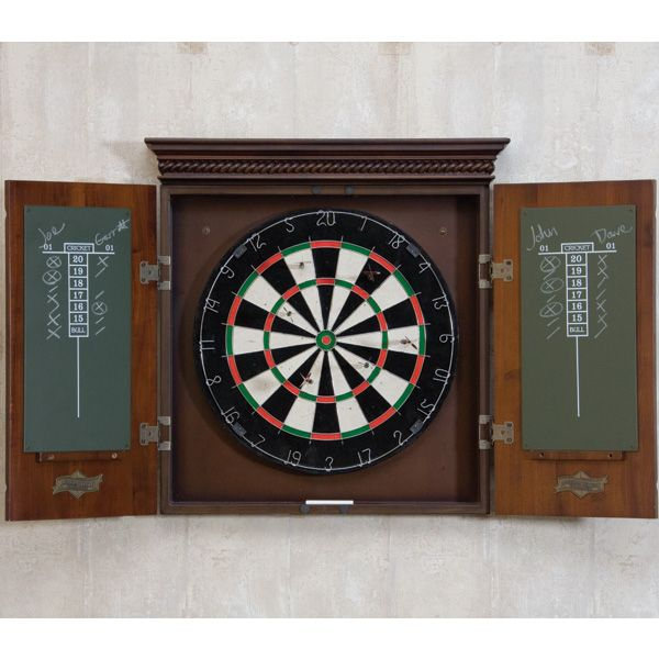 The Cavalier dart board Cabinet in set in an Mocha finish with ...