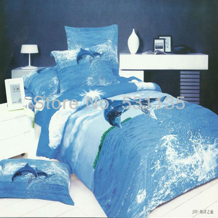 Ocean Blue Bedroom Wall: Blue Ocean Flying Seagull Design Bedding