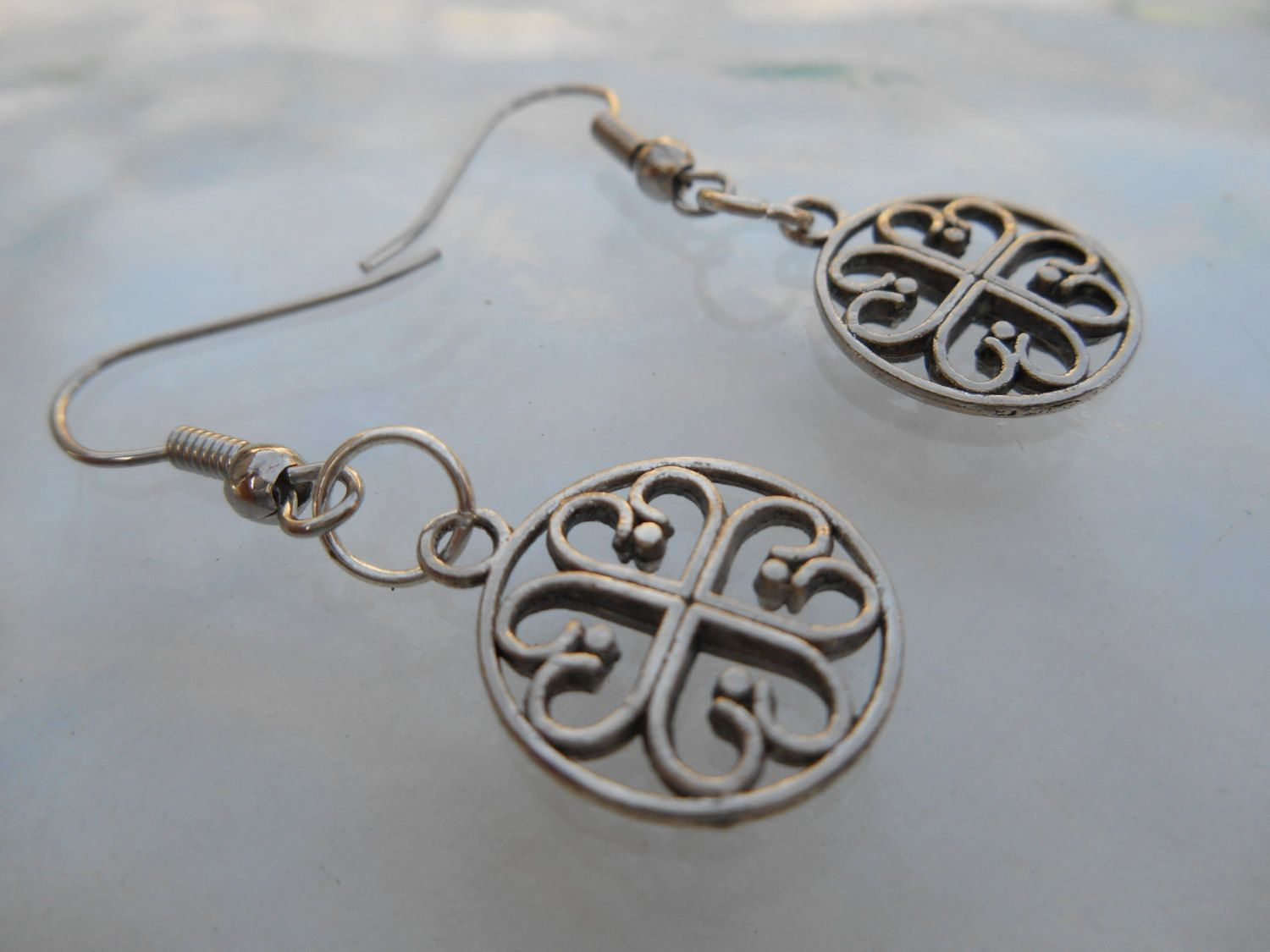 Tibetan Silver Four Leaf Clover Dangle Drop Earrings Scottish Irish