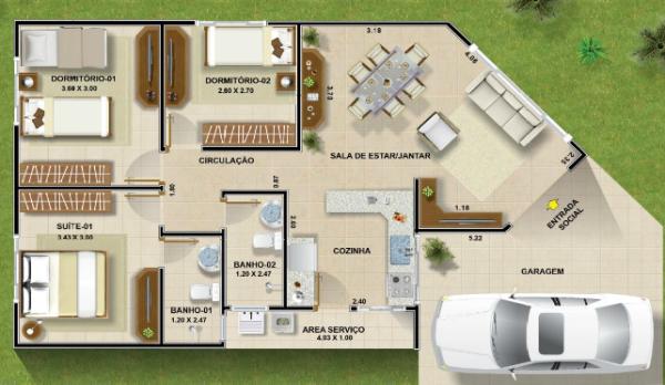Plantas de casas at 60 metros quadrados mimari planlar for Sala de 9 metros quadrados