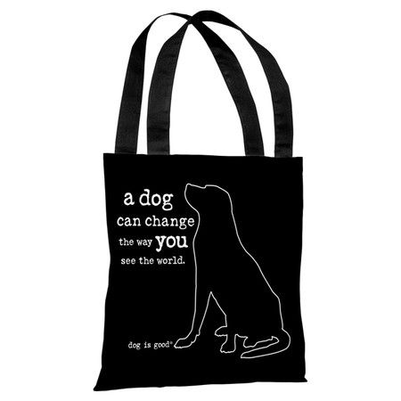 Perfect for toting farmers' market finds and daily work essentials, this charming tote bag showcases a dog motif and typographic details.