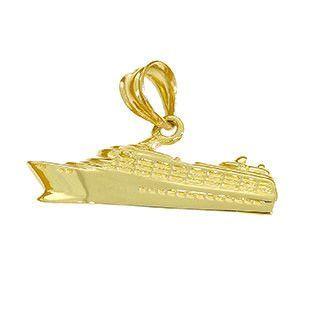 14k solid gold cruise ship pendant. cruise ship pendant. bon voyage.
