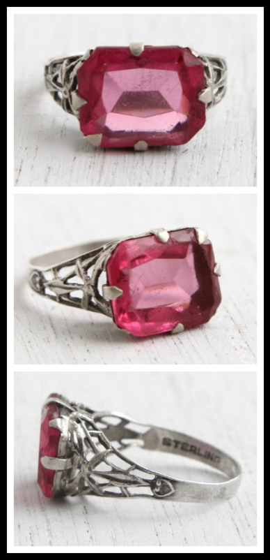 Antique Art Deco sterling silver and pink glass ring, circa 1910s. Via Diamonds in the Library's jewelry gift guide.