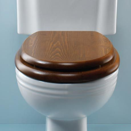 Bon Silverdale Luxury Dark Oak Wooden Toilet Seat With Incalux Hinges