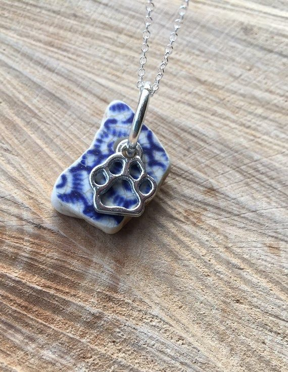 Sterling silver ~ Irish Sea pottery pendant necklace gift ~ paw charm ~ Vintage Finds Ireland ~ Cat Dog lover / walker ~ Mama Papa bear