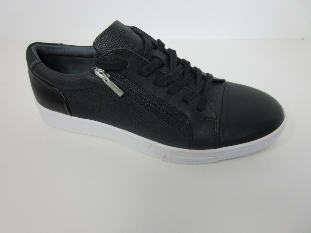 Calvin Klein Men Bilton Smooth Black Side Zipper Lace Up Sneakers Shoes  Size 9 M