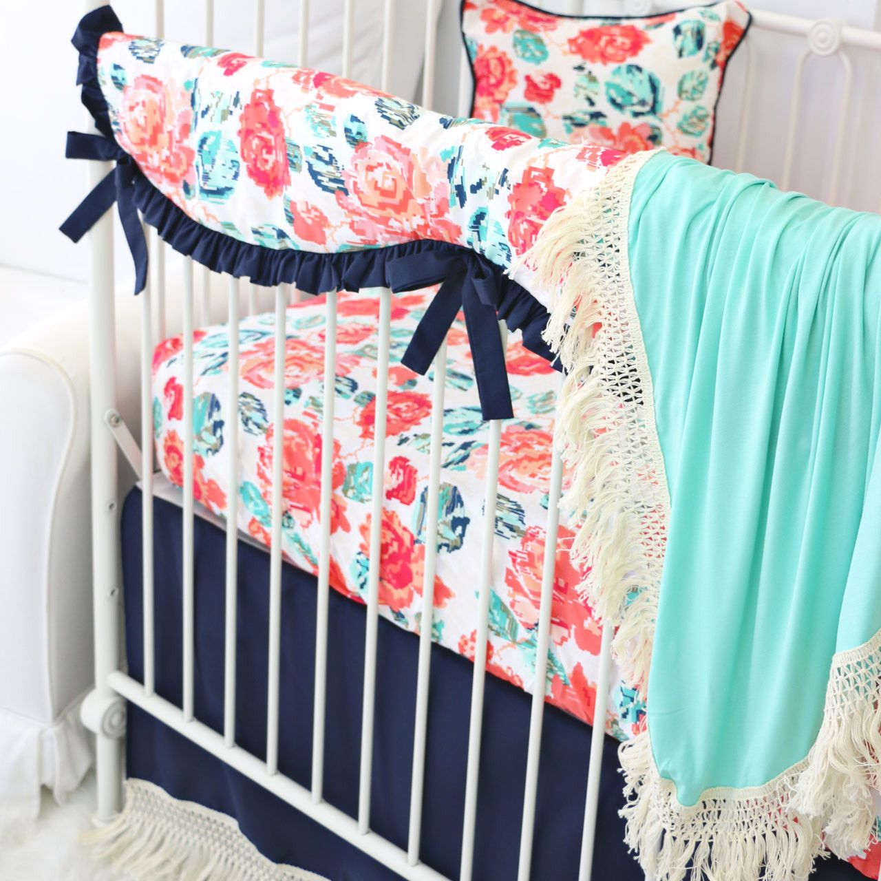 Close Up Of Everly S Coral And Navy Boho Fringe Nursery Bedding Crib Bedding Girl Bumperless Crib Bedding Baby Girl Crib Bedding