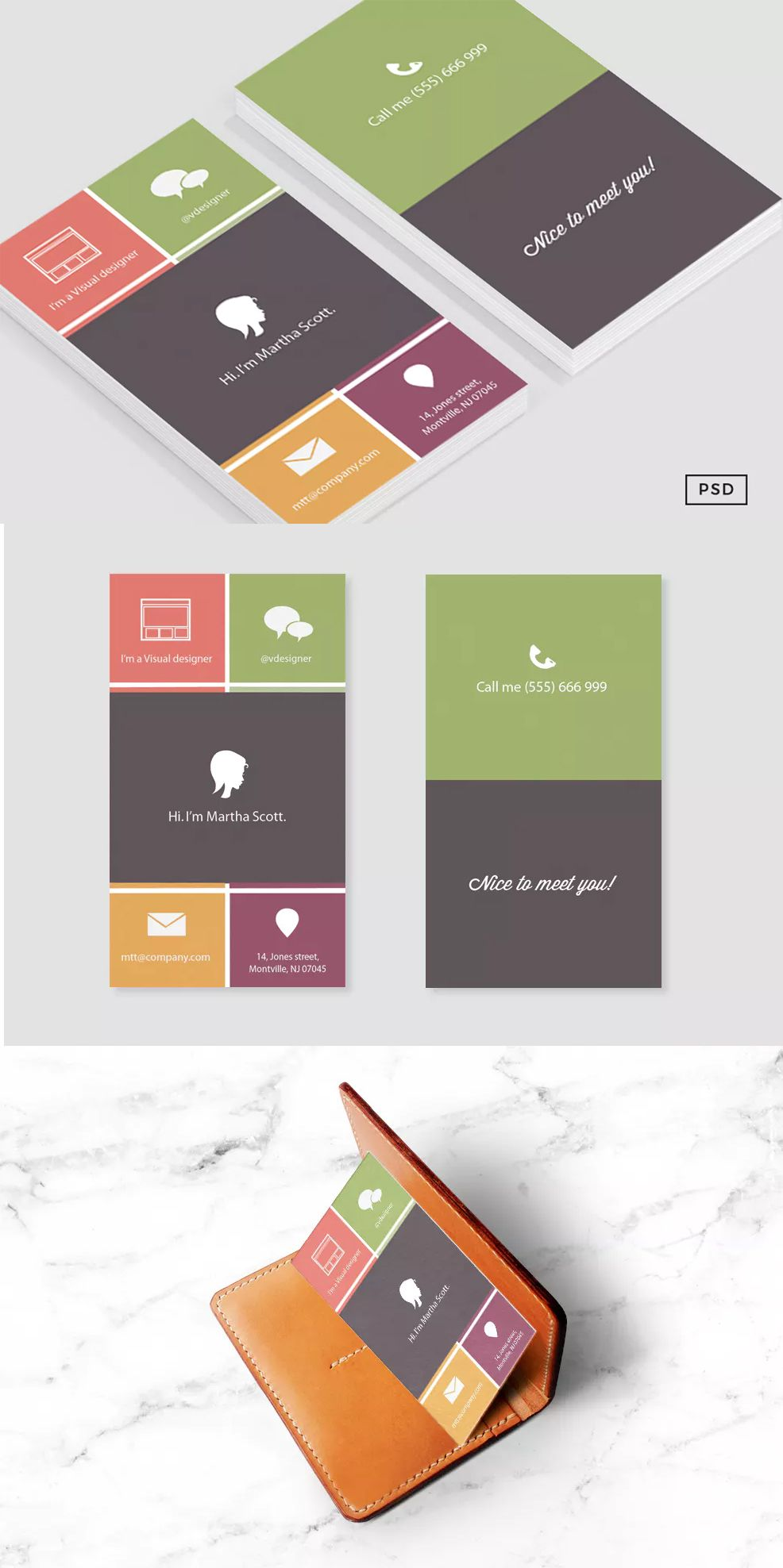 Metro Flat Business Card Template PSD