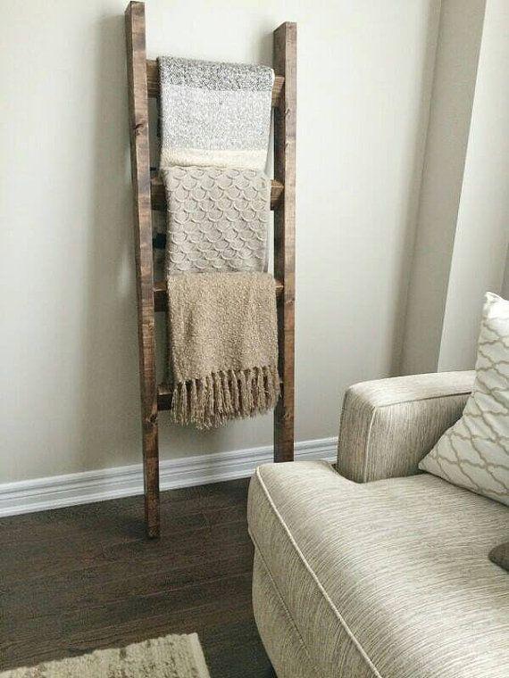 Rustic wood blanket ladder Industrial chic decor, Rustic ladder