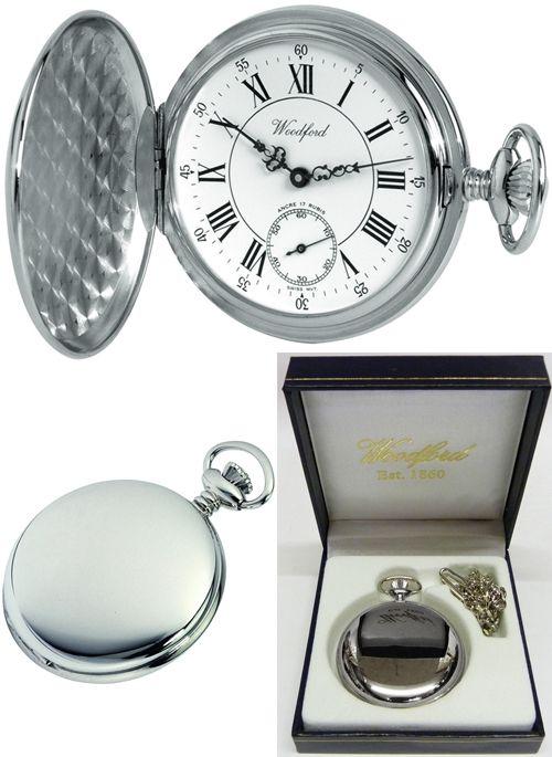 Hunter Pocket Watch 17 Jewel Swiss Movement Polished Chrome-Plated Case