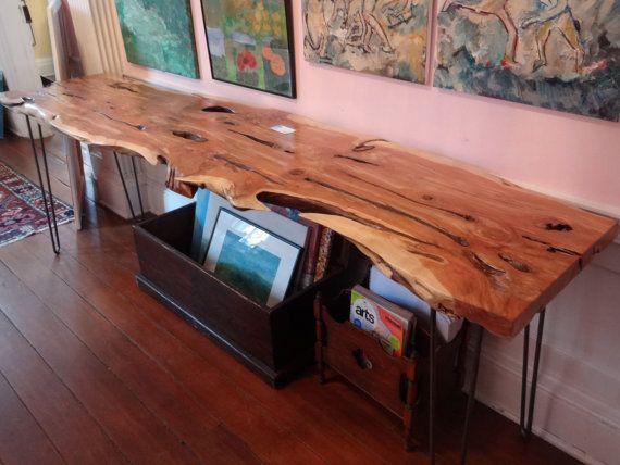 Exquisite Live Edge Cedar Solid Hardwood Wood Slab w/ Hairpin Legs ...
