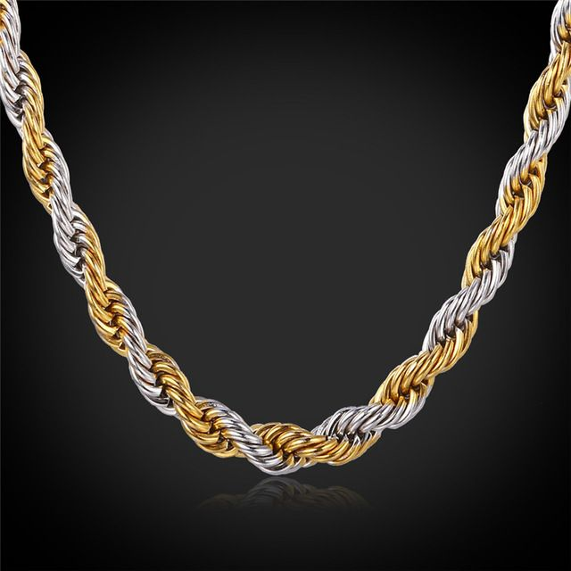00f6acbfbc717 18K Gold Plated Rope Chains For Men 2-Tone Necklace 2015 New Trendy ...